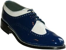Mens Blue and White Formal Spectators Wingtip Shoes