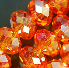 5x8mm Faceted OrangeRed AB Crystal Rondelle Beads 72pcs