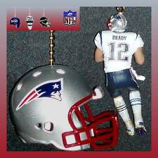 NFL NEW ENGLAND PATRIOTS RIDDELL HELMET & TOM BRADY WHITE JERSEY FIGURE FAN PULL