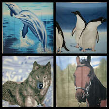 50 x 60 Fleece Blanket Throw Penguin Horse Wolf Dolphin