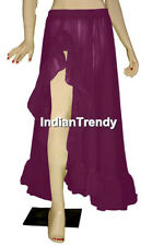 Purple Ruffle Slit Skirt Belly Dance Costume Boho Gypsy