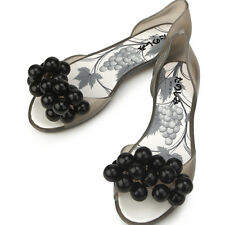 Super Pretty Grapes Black Jelly Womens Flats Shoes