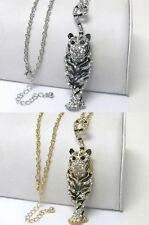 NEW CRYSTAL SILVER OR GOLD TIGER PENDANT LONG NECKLACE