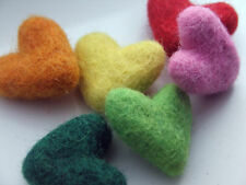5 x handmade sculpted felt HEARTS 35mm