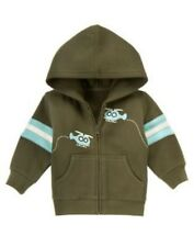 GYMBOREE TINY COPTER BROWN w/ HELICOPTERS HOODED KNIT JACKET 0 3 NWOT