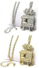 NEW LARGE CRYSTAL ROBOT PUPPET PEDANT LONG CHAIN NECKLACE