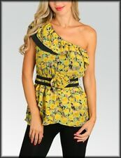 New YELLOW   Blossom  One Shoulder  Top Blouse  S, M, L