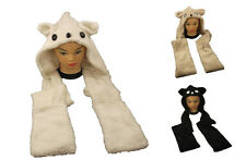 New Furry Animal Style Hooded Hat Scarf & Mitten Combo One Size PopCorn Gift