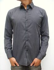 NEW MENS BLACK LONG SLEEVE SHIRT SLIM FIT STRIPE CASUAL FASHION DRESS COLLARED