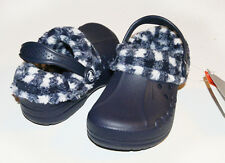 US  Crocs Kids Plaid Blitzen Navy Blue Oatmeal C6/7 C8/9 C10/11 C12/13 J1 J2 J3