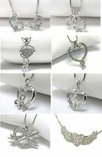 NEW CRYSTAL DUAL HEARTS CROSS CUPID MUSIC RIBBON SNAKE WINGS PENDANT NECKLACE