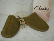 Clarks Kite Jacob Natural Tan Suede Leather Sheepskin Lined Mule Slippers