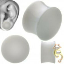 White Double Flare Plugs Solid Ear Gauge Body Jewelry Tunnel Earlets Earrings
