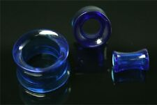 Blue Double Flare Plugs Tube Ear Gauge Body Jewelry Tunnel Earlets Earrings