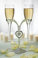 Personalized Wedding Toasting Champagne Clear Glass Flutes w/Silver Plated Stand