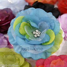 Cute Baby Kids Girls Lady Crystal Center Hair Decor Brooch Hat Head Flower Clip