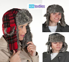 New Adults Checked Trapper Hat with Faux Fur Trim Winter Ski . One Size D-Check