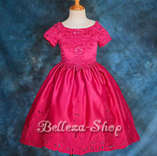Embossed Flower Girl Halter Dress Wedding Pageant Party Sz 2T-9 FG149