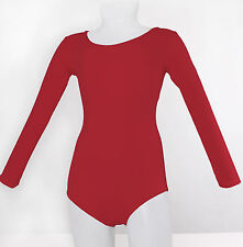 Long Sleeve Leotard Cotton Red Adult Dance NEW Made in USA
