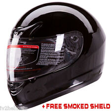 Gloss Black Full Face Motorcycle Helmet DOT +2 VISOR Size: S, M, L, XL
