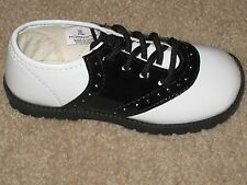 PATENT SADDLE SHOES Girls Infant Toddler BLACK & WHITE Sizes 1 to 10 NEW