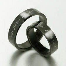 Black ANY YOURWORDS Free Engrave Wedding Bands Titanium Couple Rings Set Sz4-15