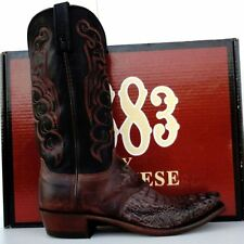 Lucchese 1883 Mens Dark Brown Head Cut Gator Cowboy Boots
