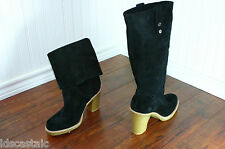 New Womens UGG Josie Size 5-10 Black Suede/Leather Convertible Tall Boots