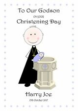 CHRISTENING DAY CARD GODSON GODDAUGHTER PERSONALISED CHOOSE ANY WORDING