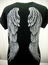 ---FREE SHIPPING---WOMEN'S OVER SIZE ANGEL WINGS BLACK V-NECK SHIRT SIZES S - L