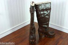 New Womens UGG Savanna Chocolate Leather Size 5-10 Braided Tall Knee High Boots