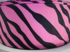 "5 /25 yards Grosgrain 1.5"" Craft Ribbon-Wild Animal Zebra Print R141-Pink/Black"