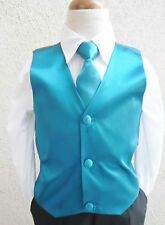 BOY'S SOLID JADE TEAL GREEN VEST NECK TIES / BOW TIES TUXEDO & SUIT SIZE 2 - 16
