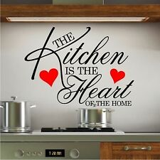 WALL ART STICKER QUOTE KITCHEN HEART HOME DINING ROOM LARGE WALLPAPER SAYING