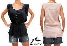 New RUSTY Florida Doll Cotton Top Black or Pink Sleeveless Surf Shirt $70 60%OFF