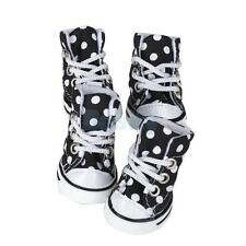 Black White Polka Dots Pet Puppy Dog Canvas Shoes Sports Boots Bootie Sneakers