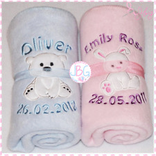 Personalised Baby/Toddler Blanket, Cute Designs, Great New baby/Christening Gift