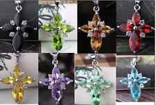 Fashion Shiny Glass Crystal Cross Pendant Chian Necklace 8 colors