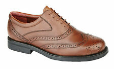 Mens Wide Fitting Brogues Brown Oxford Shoes Size 6 7 8 9 10 11 12 13 Lace New
