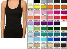 JR. WOMEN COTTON  BASIC STRETCH RACER BACK RIB TANK TOP  Multi Color