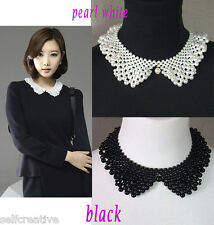 Women Peter Pan Collar Handmade Necklace Choker Pearl Black/White Wrap Scarf New