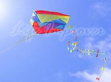 Single Line Parafoil Pocket Kite + Colourful Long Tail in Pouch Easy Outdoor Fun