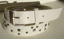 MEN WOMAN DESIGNER S PYRAMID STUDDED WHITE SNAP ON BELT S M L XL