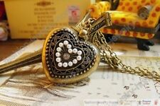 Retro Bronze White Pearl Heart Love Hollow Out Lockets Necklace Pendant