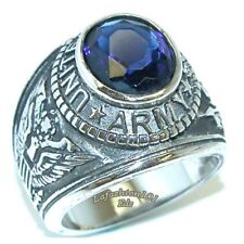 US Army Stainless Steel Wide Band Sapphire CZ military Ring SIZE 9-13