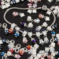 WHOLESALE FACETED AB CRYSTAL GLASS DANGLE BIG HOLE BEADS FIT EP CHARM BRACELET
