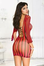 Long Sleeve Chemise Mini Dress Pink Red or White Sexy Underwear Lingerie P6201
