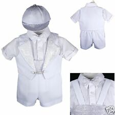 New Baby Boy Christening Baptism Formal Tuxedo Suit White New Born to 30 months