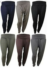 NEW LADIES PLUS SIZE PLAIN BOTTOM HAREM TROUSERS ALI BABA HAREEM PANTS 12-26