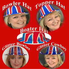 UNION JACK BRITISH HATS BOWLER,BOATER,TOPPER, COWBOY ARMED FORCES - LOT